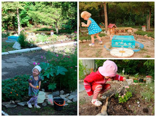 Детская площадка с цветником