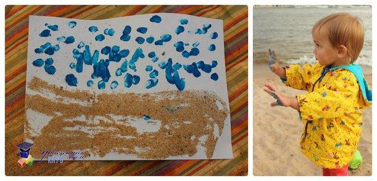 рисование песком на пляже