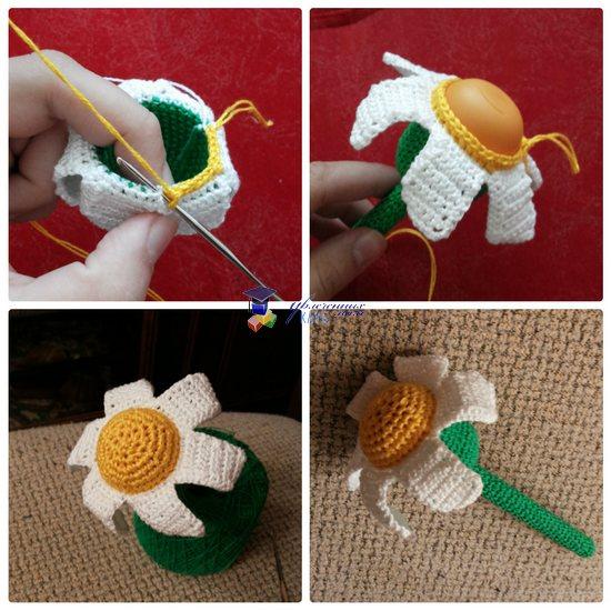 погремушка крючком цветочек