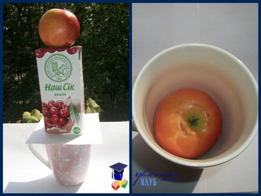 эксперимент: яблоко падает в чашку