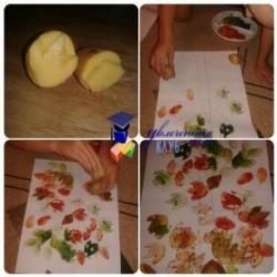 рисование отпечатками картофеля
