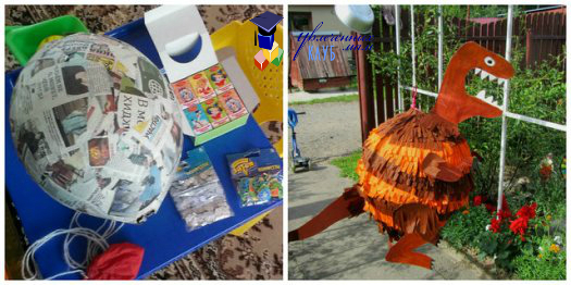 День рожджения: пиньята в виде динозавра