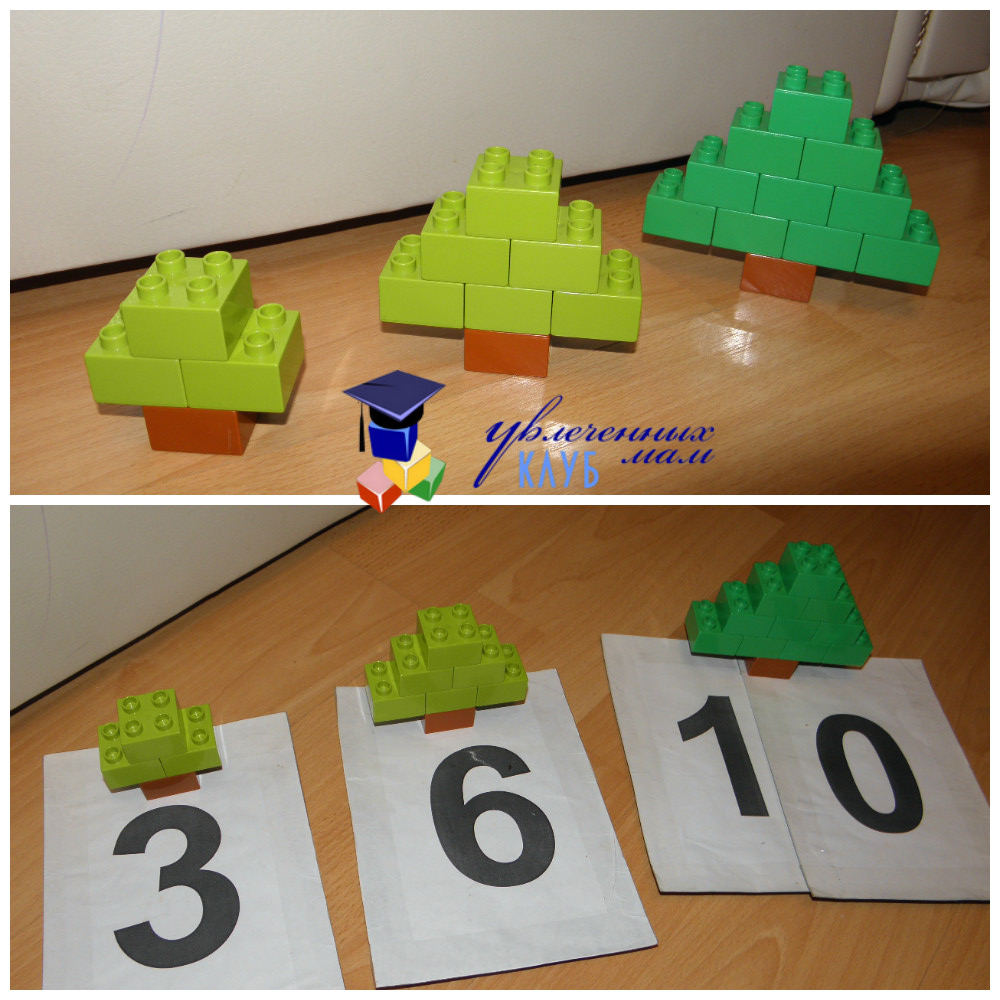Лего-поделки (Lego Duplo) - Елочки считаем блоки