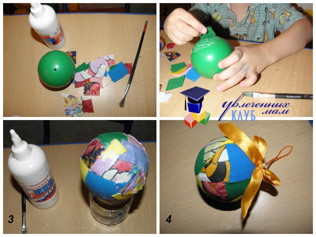 Новогодние шары своими руками - из лоскутков