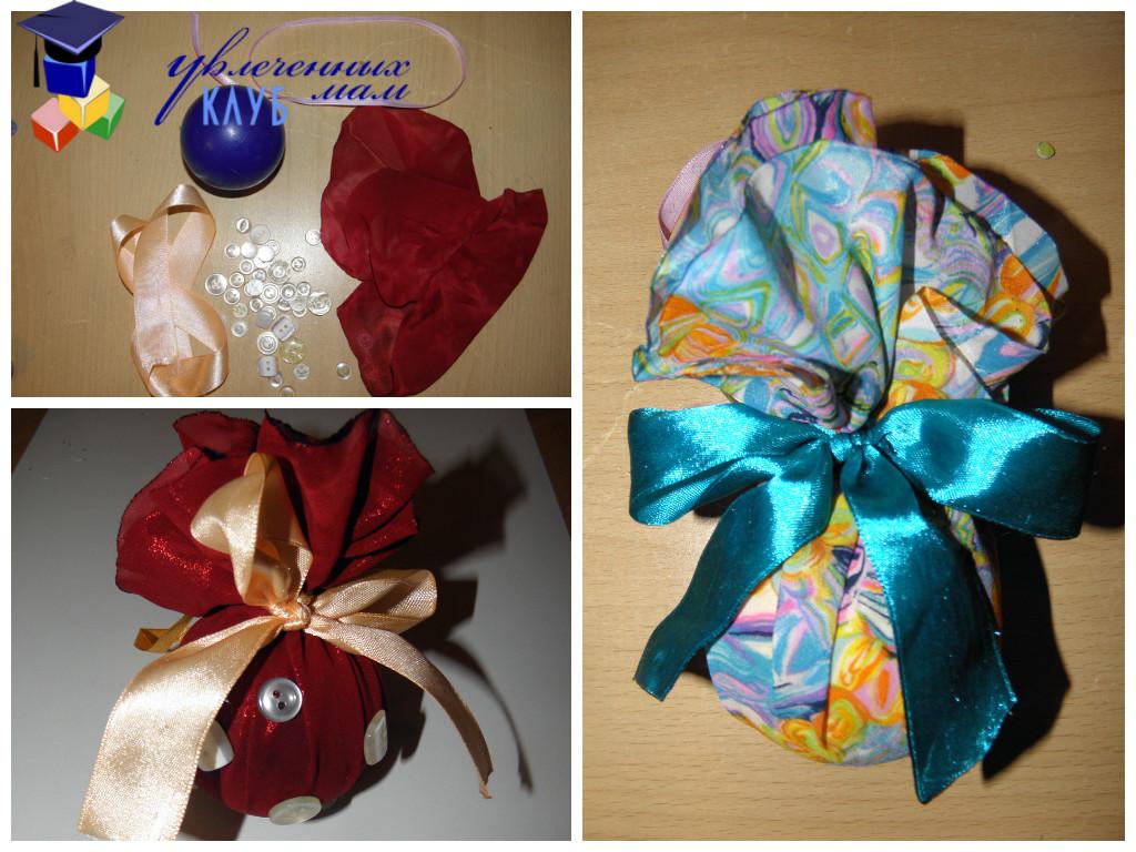 Новогодние шары своими руками - из ткани
