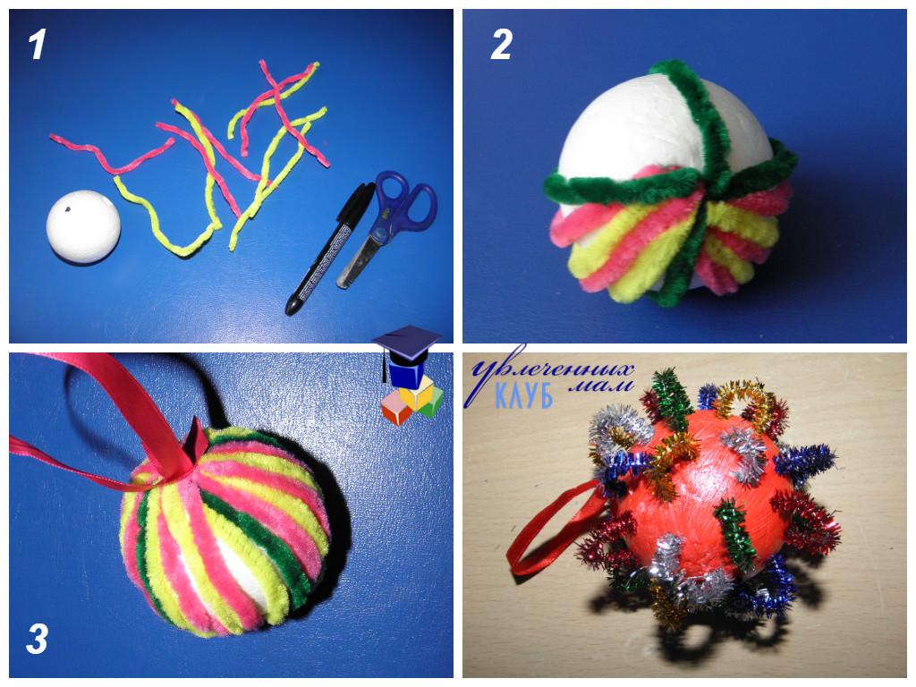Новогодние шары своими руками - украшаем синельной проволокой