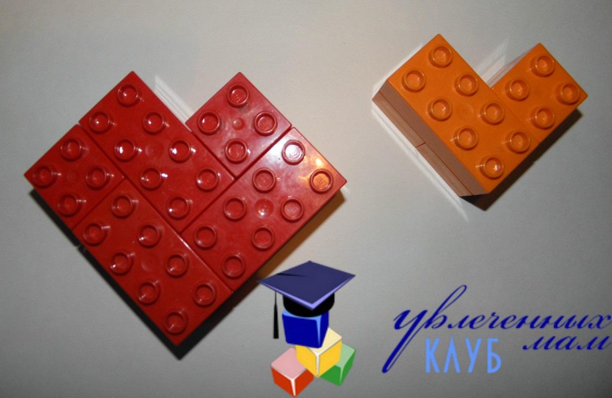 Валентинки из Lego DUPLO - Сердечки остроугольные