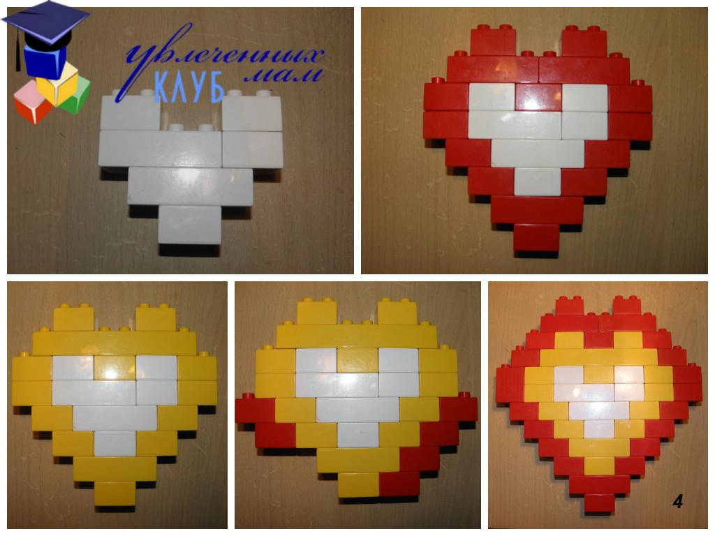 Валентинки из Lego DUPLO - Сердечки в сердечках