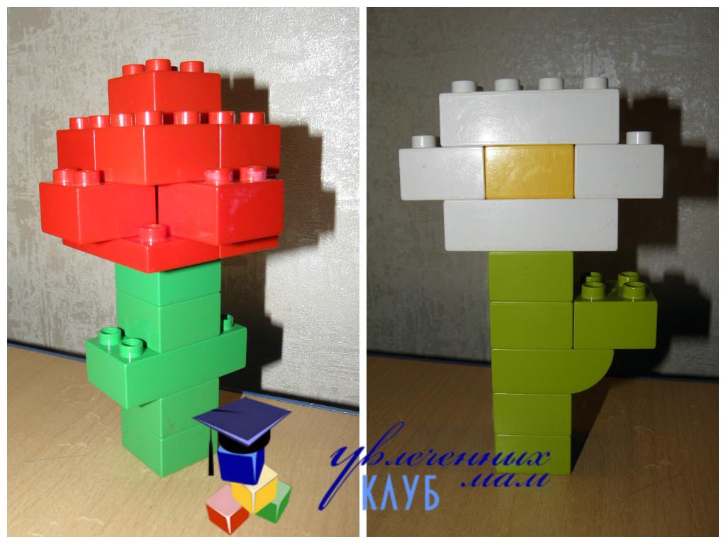 Цветы к празднику 8 марта из LEGO DUPLO - Ромашка
