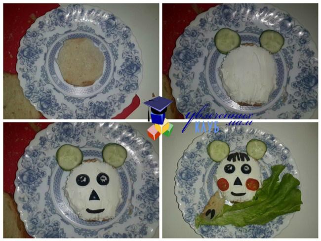Мишка из хлеба и овощей