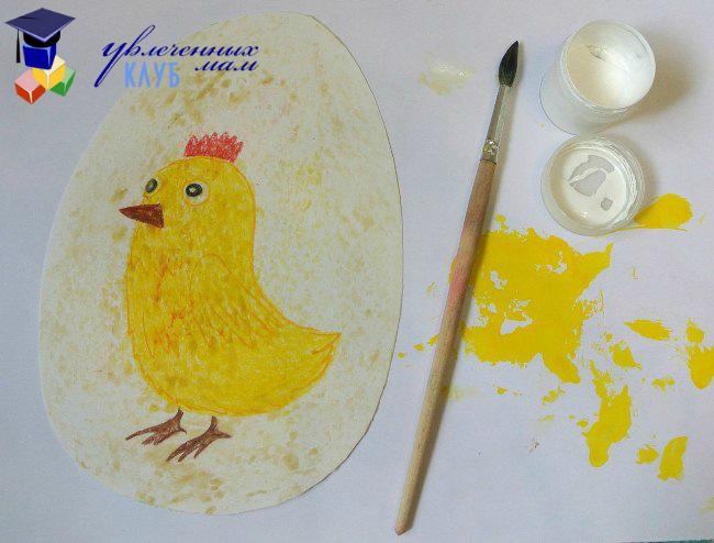 Восковое яйцо с цыпленком