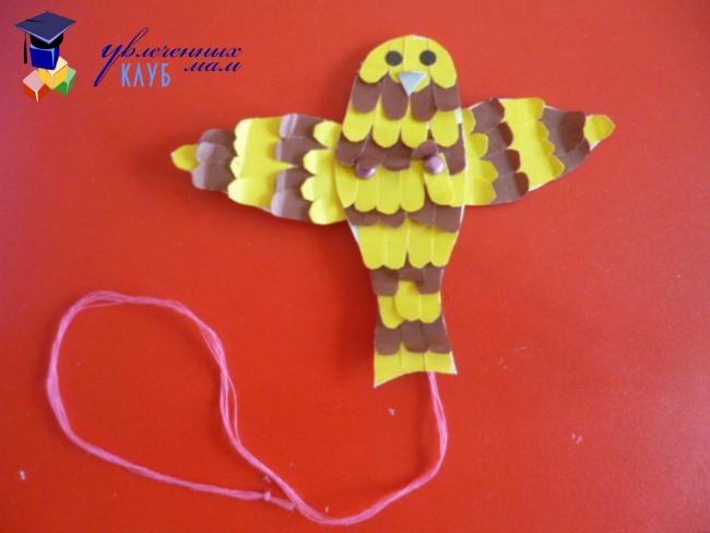 Поделка птицы с подвижными крыльями