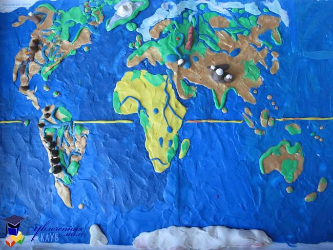 Географическая карта из пластилина