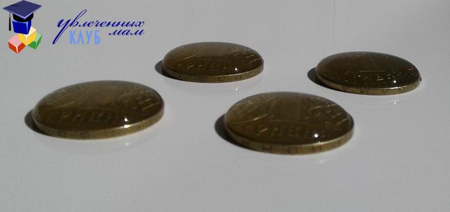 Поверхностное натяжение воды и монеты