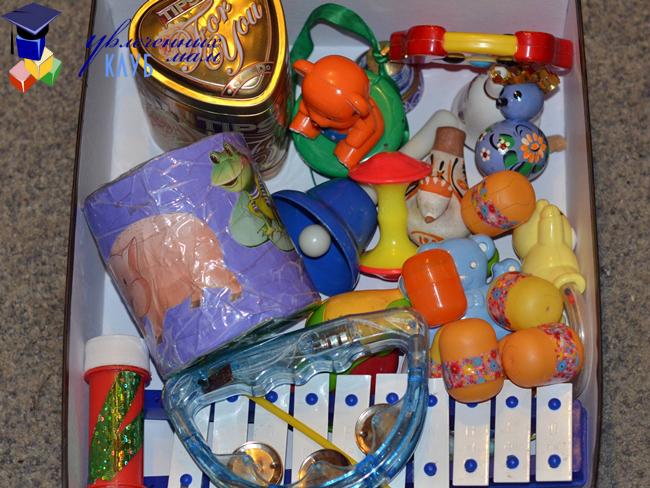 Сенсорная коробка Игрушки - шумелки